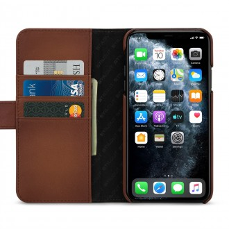 Etui compatible avec iPhone 11 Pro Max porte-cartes marron en cuir véritable - Stilgut