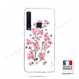 Coque compatible Galaxy A9 (2018) souple Fleurs de Sakura sur fond blanc- Crazy Kase