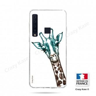 Coque compatible Galaxy A9 (2018) souple Tête de Girafe sur fond blanc- Crazy Kase