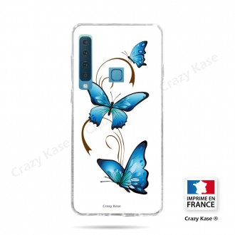 Coque compatible Galaxy A9 (2018) souple Papillon sur Arabesque sur fond blanc- Crazy Kase