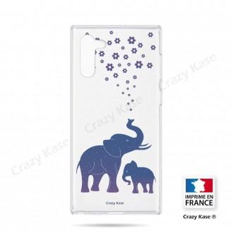 Coque compatible Galaxy Note 10 souple Eléphant Bleu - Crazy Kase