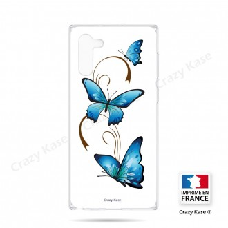 Coque compatible Galaxy Note 10 souple Papillon sur Arabesque sur fond blanc- Crazy Kase