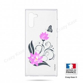 Coque compatible Galaxy Note 10 souple Fleur de lotus et papillon- Crazy Kase