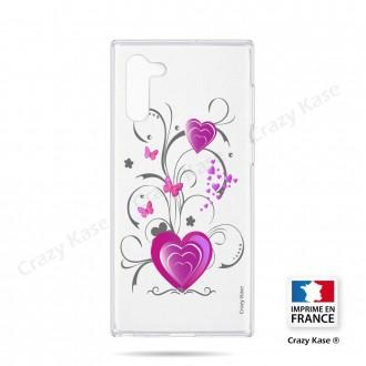 Coque compatible Galaxy Note 10 souple Coeur et papillon - Crazy Kase
