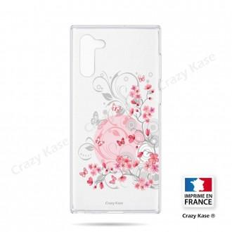 Coque compatible Galaxy Note 10 souple Fleurs et papillons -  Crazy Kase