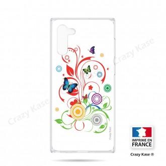 Coque compatible Galaxy Note 10 souple  Papillons et Cercles sur fond blanc - Crazy Kase