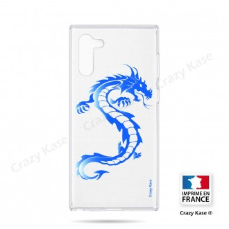 Coque compatible Galaxy Note 10 souple Dragon bleu - Crazy Kase