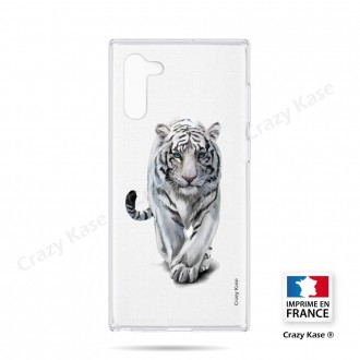Coque compatible Galaxy Note 10 souple Tigre blanc - Crazy Kase