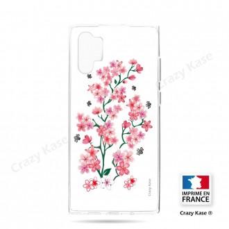 Coque compatible Galaxy Note 10 Plus souple Fleurs de Sakura sur fond blanc- Crazy Kase