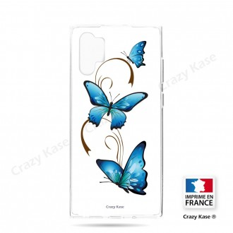 Coque compatible Galaxy Note 10 Plus souple Papillon sur Arabesque sur fond blanc- Crazy Kase