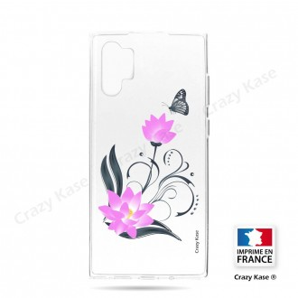 Coque compatible Galaxy Note 10 Plus souple Fleur de lotus et papillon- Crazy Kase