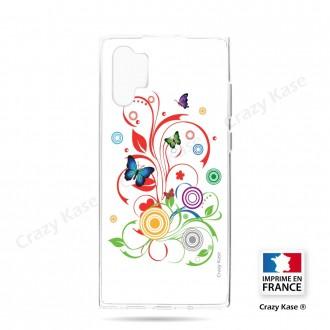 Coque compatible Galaxy Note 10 Plus souple  Papillons et Cercles sur fond blanc - Crazy Kase