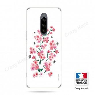 Coque compatible Xperia 1 souple Fleurs de Sakura sur fond blanc- Crazy Kase