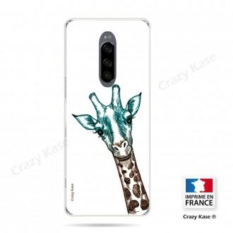 Coque compatible Xperia 1 souple Tête de Girafe sur fond blanc- Crazy Kase