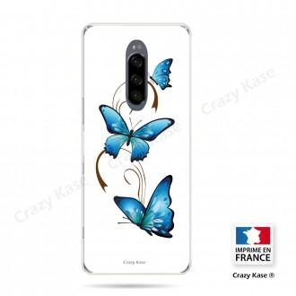 Coque compatible Xperia 1 souple Papillon sur Arabesque sur fond blanc- Crazy Kase