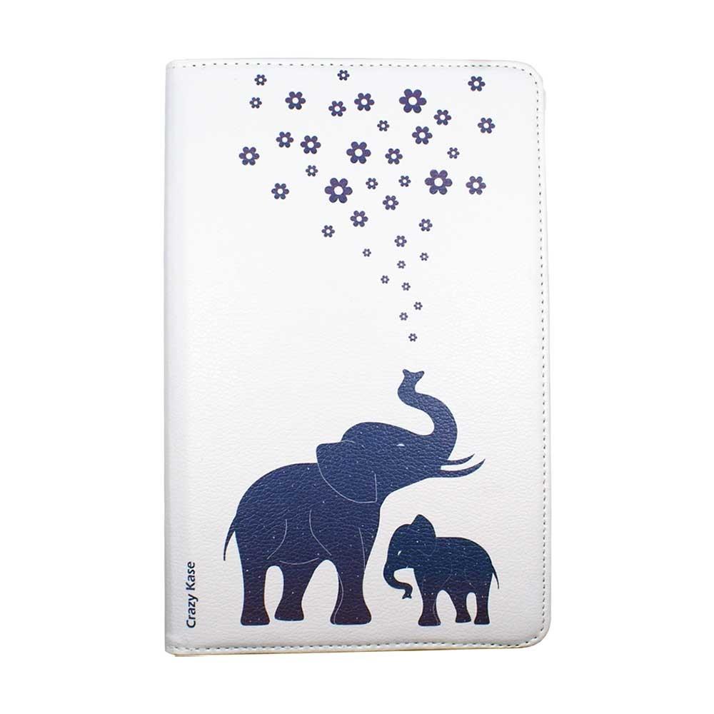 Etui Galaxy Tab A 10.1 (2019) Rotatif 360° Blanc motif Eléphant bleu