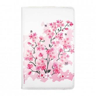 Etui Galaxy Tab A 10.1 (2019) Rotatif 360° Blanc motif Fleurs de cerisier