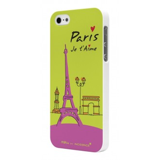 Coque Rubber White Incidence Modèle Paris Vert pour Apple iPhone 5