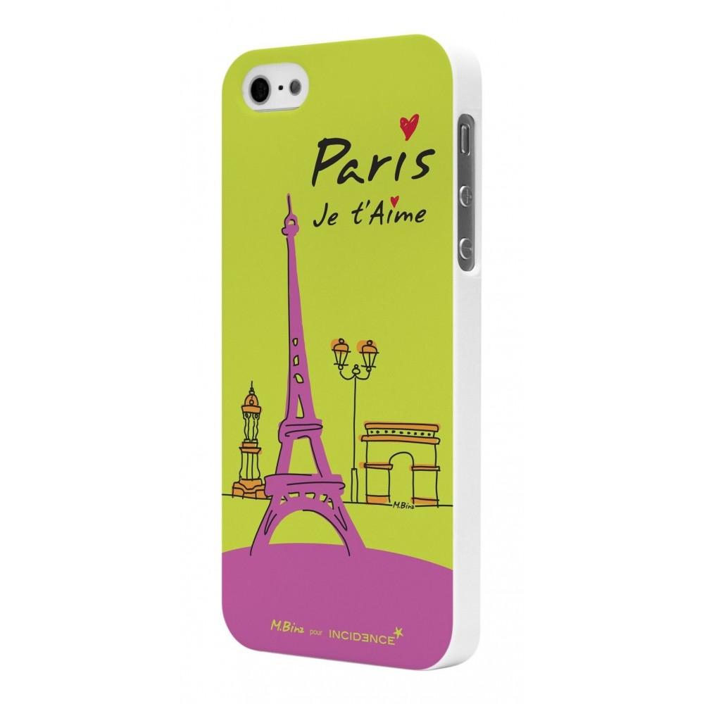 Coque Rubber White Incidence Modèle Paris Vert pour Apple iPhone 5
