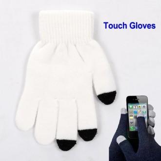 Paire de gants en micro-fibre blanc et noir pour écrans tactiles