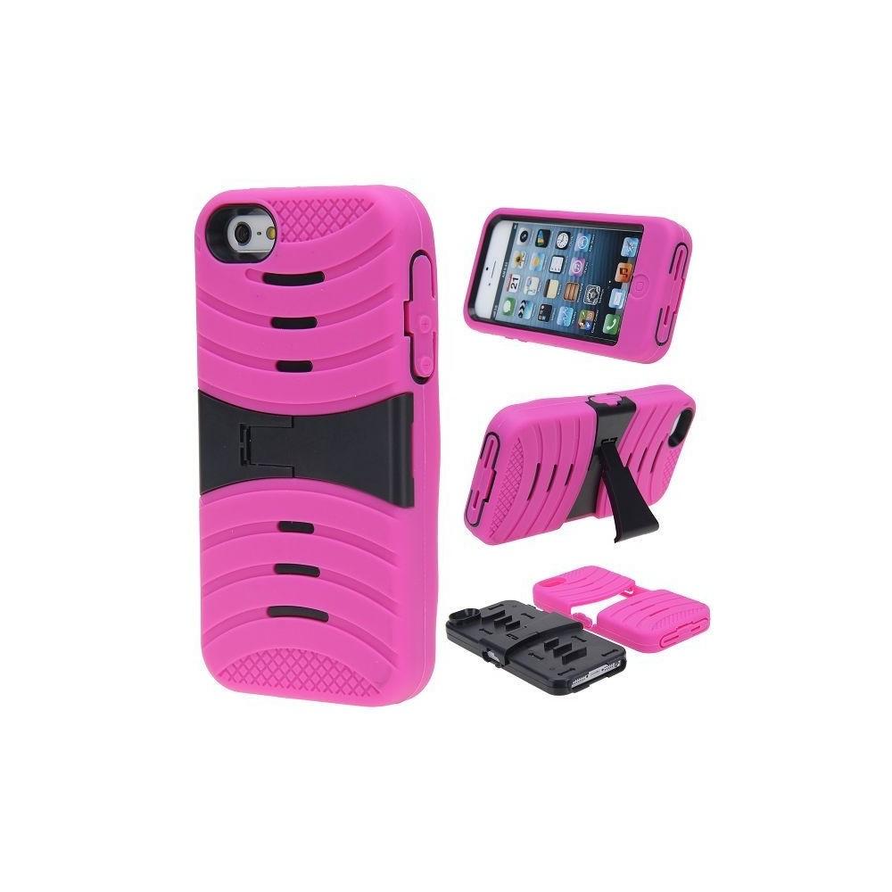 Coque ultra résistante rose avec support TV noir pour Apple iPhone 5