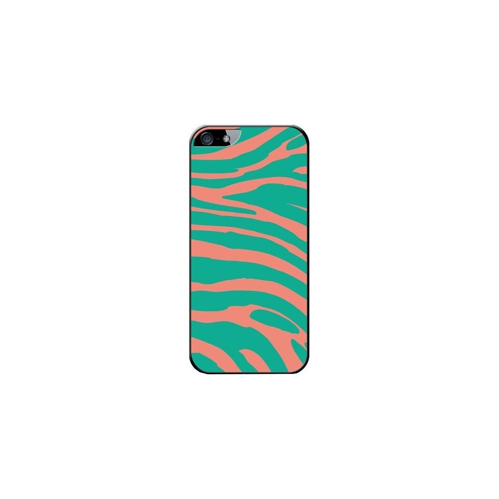 Coque made in France zèbre vert et orange pour Apple iPhone 5