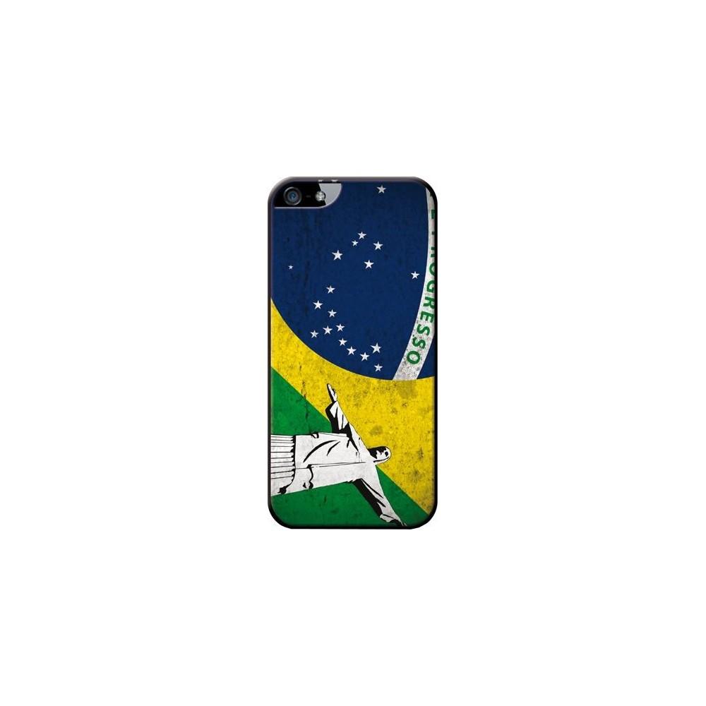Coque made in France drapeau Brésil et statue du Christ pour Apple iPhone 5