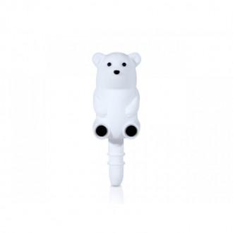 Bouton anti poussière ours blanc prise audio 3.5mm