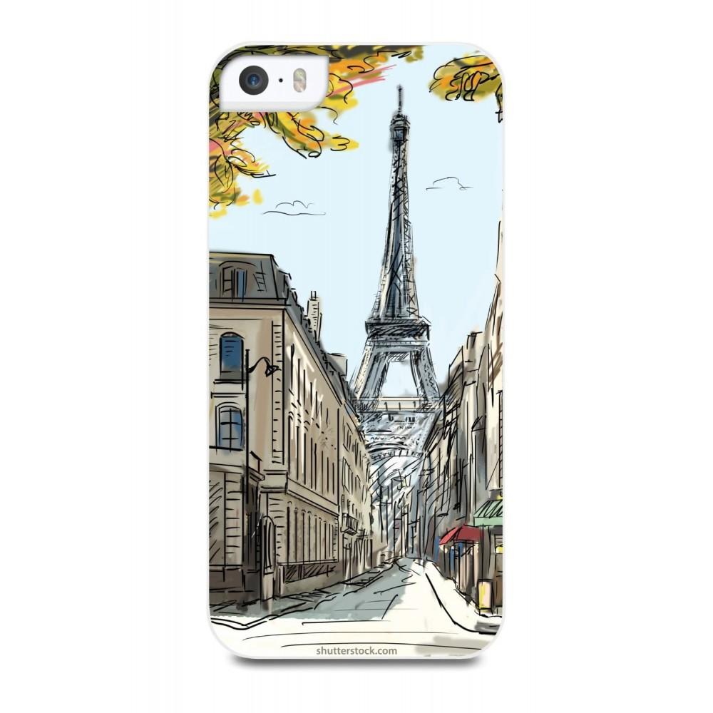 Coque motif dessin Paris pour iphone SE / 5s / 5 - Muvit