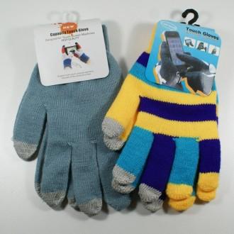 Lot de 2 paires de gants (un bleu, un multicouleur) pour écrans tactiles