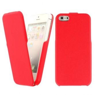 Housse simili cuir rouge ouverture verticale pour iPhone 5