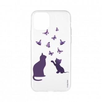 Coque pour iPhone 11 souple Chaton jouant avec papillon - Crazy Kase