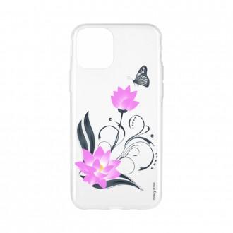 Coque pour iPhone 11 Pro souple motif Fleur de lotus et papillon - Crazy Kase