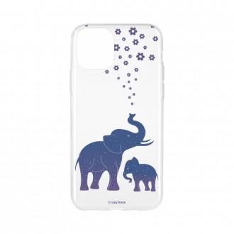 Coque pour iPhone 11 Pro souple motif Eléphant Bleu - Crazy Kase