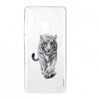 Coque compatible Huawei P30 Lite souple Tigre blanc - Crazy Kase