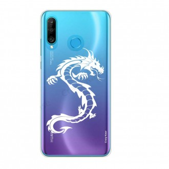 Coque compatible Huawei P30 Lite souple Dragon blanc - Crazy Kase