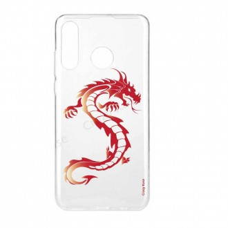 Coque compatible Huawei P30 Lite souple Dragon rouge - Crazy Kase