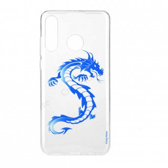 Coque compatible Huawei P30 Lite souple Dragon bleu - Crazy Kase