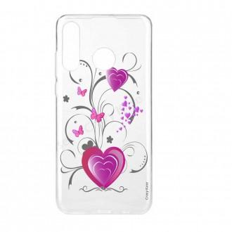 Coque Huawei P30 Lite  souple motif Cœur et papillon - Crazy Kase