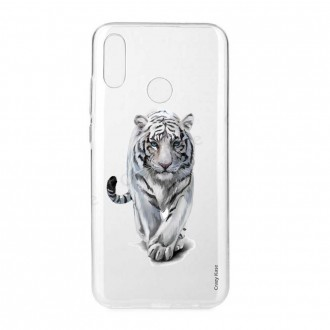 Coque Huawei P Smart 2019 souple Tigre blanc  - Crazy Kase