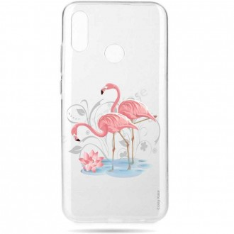Coque compatible Huawei P Smart 2019 souple Flamant rose -  Crazy Kase