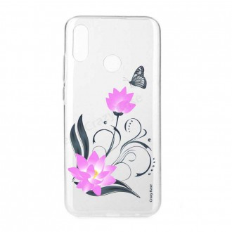 Coque Huawei P Smart 2019 souple motif Fleur de lotus et papillon- Crazy Kase