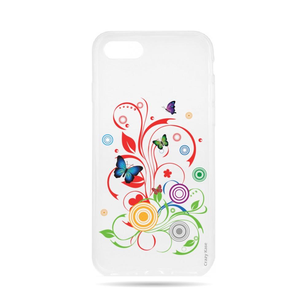 Coque iPhone 7 Transparente souple motif Papillons et Cercles - Crazy Kase