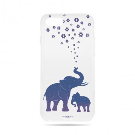 Coque iPhone 7 Transparente souple motif Eléphant Bleu - Crazy Kase