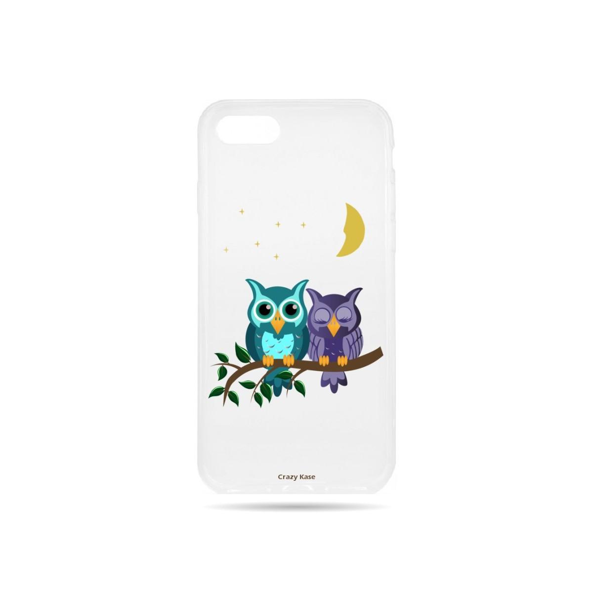 Coque iPhone 7 souple motif chouettes au clair de lune - Crazy Kase