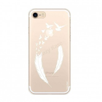 Coque iPhone 7 souple motif Plume et envol d'oiseaux - Crazy Kase