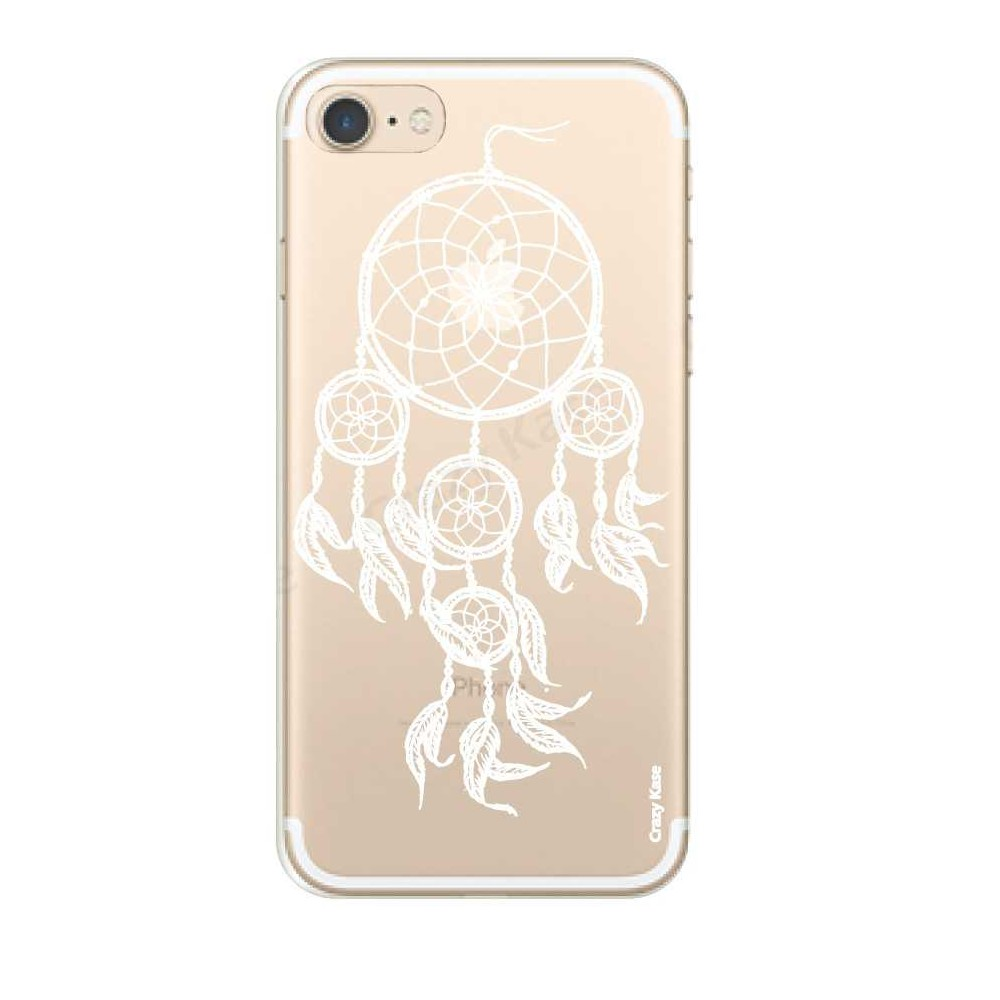 Coque iPhone 7 Transparente souple motif Attrape Rêves Blanc - Crazy Kase