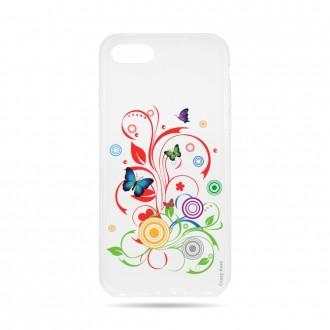Coque iPhone 8 transparente souple motif Papillons et Cercles - Crazy Kase