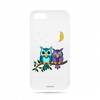 Coque iPhone 8 souple motif chouettes au clair de lune - Crazy Kase