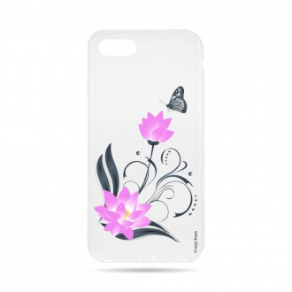 Coque iPhone 8 souple motif Fleur de lotus et papillon- Crazy Kase